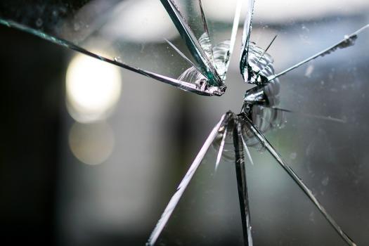 Glass Broken Hole Fragmented Crack Disc Window